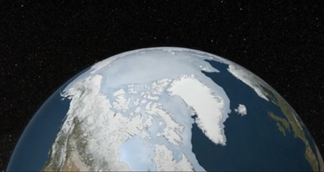 Screen capture from animation of Arctic Sea Ice Maximum for 2013.