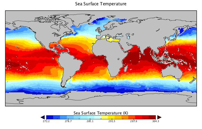 map of sea surface temperature generated using data from Jason-1