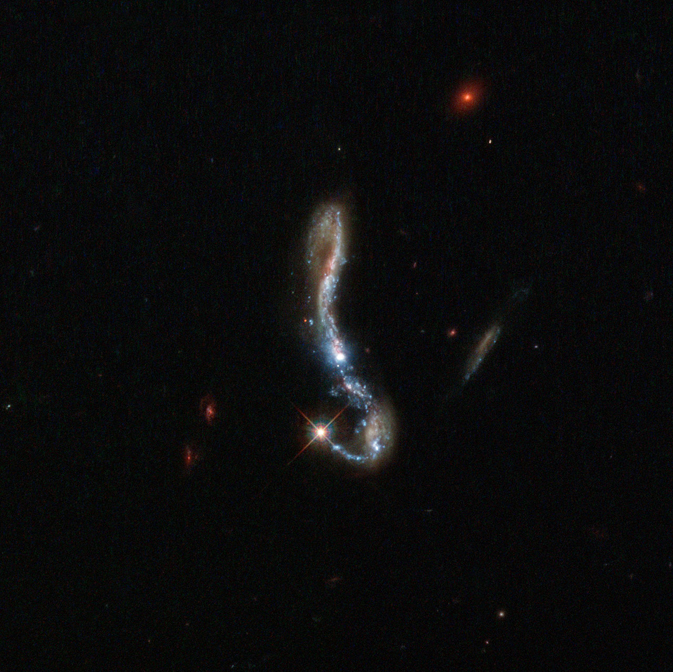 In this inverted question mark galaxy, a bright starburst decorates the end of the crook