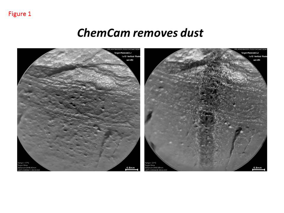 This pair of images taken a few minutes apart show how laser firing by NASA's Mars rover Curiosity removes dust from the surface of a rock