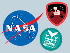 NASA insignia, Mars Curiosity Foursquare badge and Short Awards logo