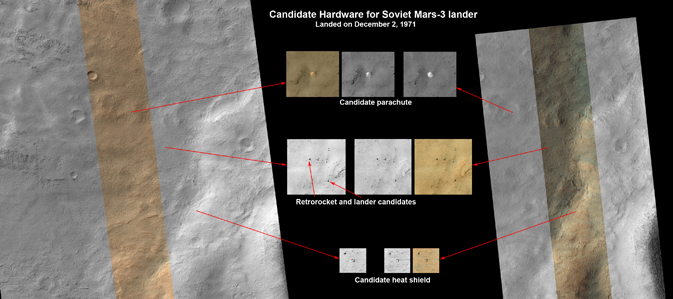 This set of images shows what might be hardware from the Soviet Union's 1971 Mars 3 lander
