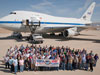 The staff of NASA's Stratospheric Observatory for Infrared Astronomy (SOFIA) gathered on the ramp outside the Dryden Aircraft Operations Facility in Palmdale, Calif., to mark a milestone—the flying observatory's 100th flight.