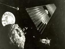 This June 1978 artist's concept shows an asteroid retrieval mission.