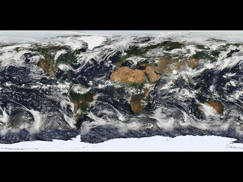 Image of Earth based largely on observations from the Moderate Resolution Imaging Spectroradiometer (MODIS) - a sensor aboard the Terra Satellite - on July 11, 2005. Image Credit: NASA