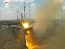 The ISS Progress 51 cargo craft launches from the Baikonur Cosmodrome in Kazakhstan