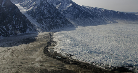 Terminus of Wordie Glacier in northeast Greenland with small terminal moraine.