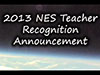 Earth's horizon from space and the words 2013 NES Teacher Recognition Announcement