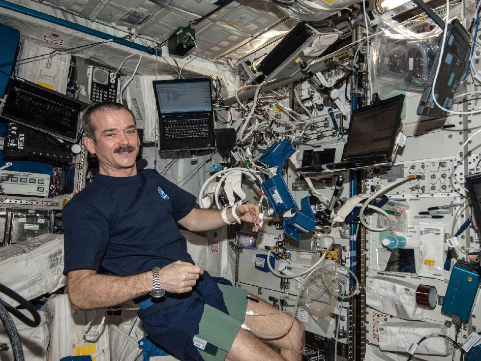 Commander Chris Hadfield with BP Reg experiment