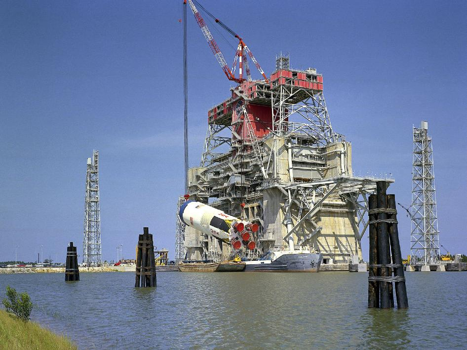 Apollo Saturn S-IC Rocket Stage on Test Stand, 1968   NASA