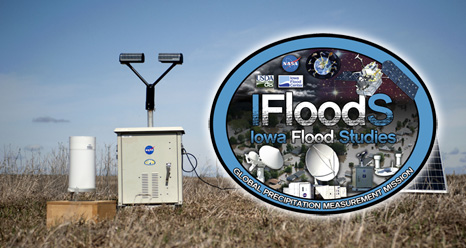 IFloodS logo and rain gauge in a field.