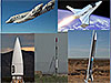 Collage of various suborbital launch vehicles
