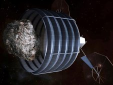 An artist rendition of an asteroid capture in progress.