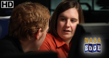 NASA EDGE interviews Test Director Sarah Daugherty in Mission Control at Wallops Flight Facility.