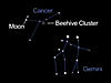 Diagram of the night sky looking west on May 16 at 8:30 highlighting the constellations Cancer and Gemini