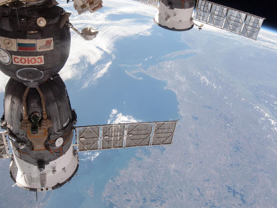 Soyuz spacecraft and the Atlantic coast of North America