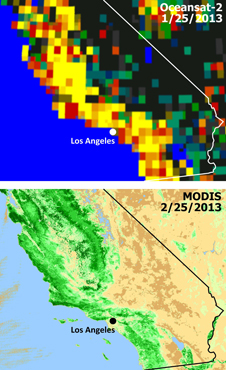 Extensive and persistent rains between Jan. 24 and Jan. 27, 2013, significantly increased soil moisture and enhanced vegetation growth in Southern California