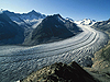 The Aletsch Glacier in Switzerland is the largest valley glacier in the Alps and it has been losing mass since mid-19th century.