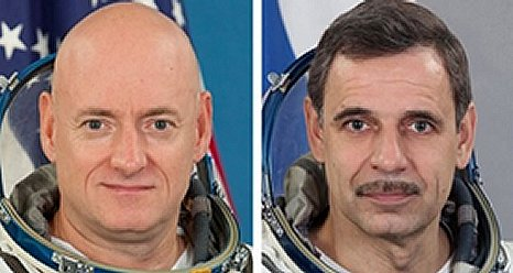 Selected crew members for the one-year mission aboard the International Space Station, U.S. Astronaut Scott Kelly (pictured left) and Russian Cosmonaut Mikhail Kornienko (pictured right). (NASA)