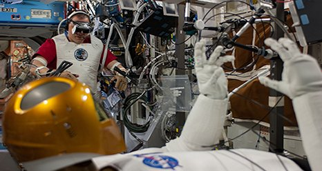 NASA astronaut Tom Marshburn performs the second of a two-day session of taskboard and teleoperations with Robonaut. (NASA)