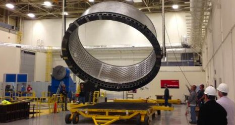 The structural test article adapter is flipped at Marshall testing facility Building 4705.