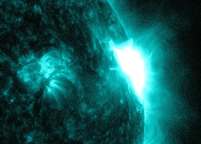 NASA's Solar Dynamics Observatory captured this image of a solar flare on the right side of the sun on May 22, 2013.