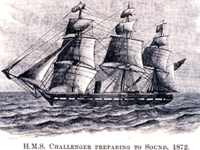 Drawing of the HMS Challenger survey vessel