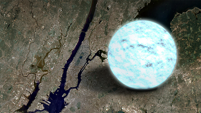 artist concept of neutron star compared to satellite image of Manhattan for scale