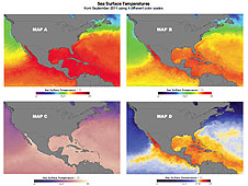 Colored sea surface temperature maps from Exploring Color Maps: Visualizing the Ozone Hole