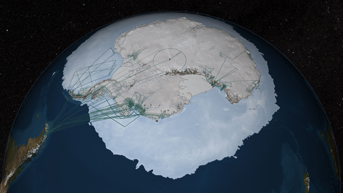 graphical representation of Antarctica with survey flight paths superimposed