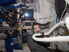 Expedition 33 flight engineer Aki Hoshide of the Japan Aerospace Exploration Agency conducts an Oxygen Uptake Measurement for the Energy experiment in the Columbus laboratory of the International Space Station. (NASA)