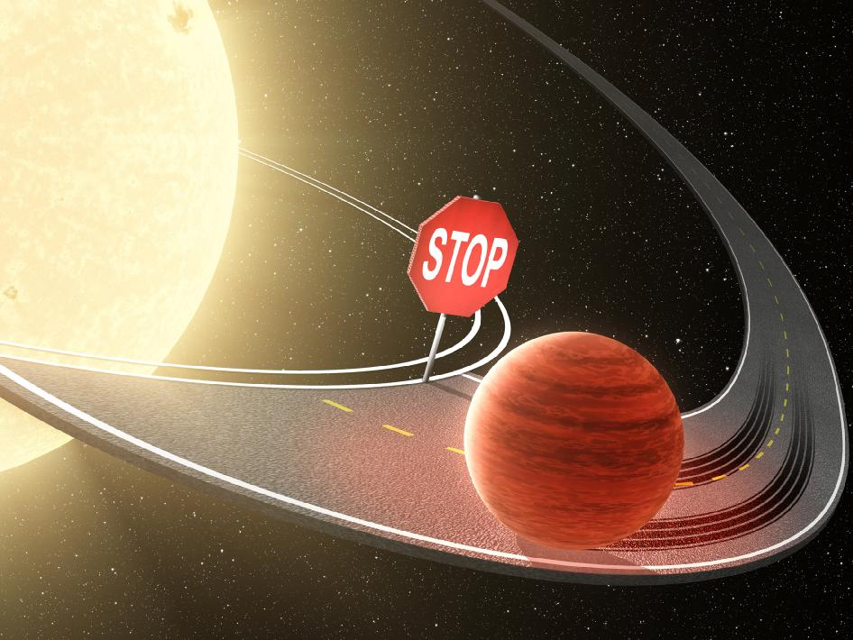 Researchers using data from NASA's Kepler space telescope have shown that migrating planets stop their inward journey before reaching their stars, as illustrated in this artist's concept.