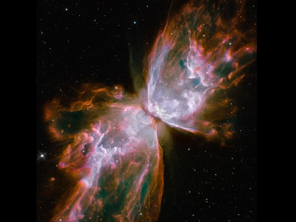 This sharp and colorful close-up of the dying star's nebula was recorded in 2009 by the Hubble Space Telescope's Wide Field Camera 3, installed during the final shuttle servicing mission.