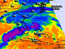 AIRS infrared image of Andrea