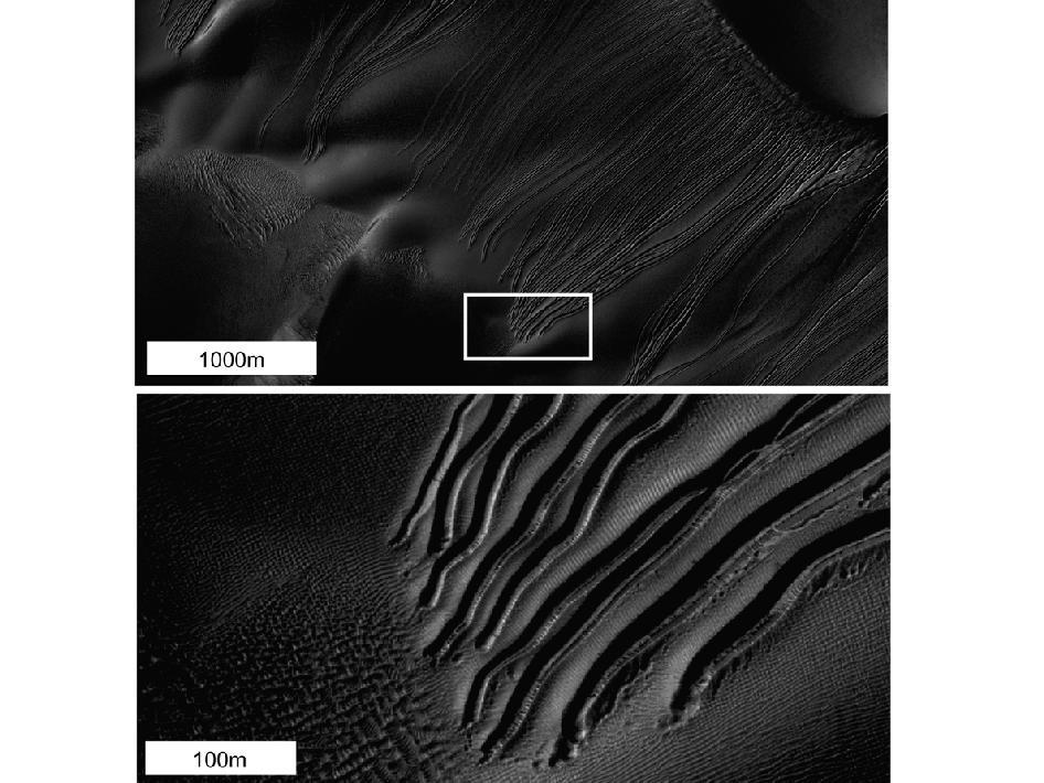 หลายชนิดตกต่ำคุณสมบัติการไหลจะถูกสังเกตเห็นบนดาวอังคาร ภาพจากการถ่ายภาพความละเอียดสูงการทดลองวิทยาศาสตร์ (HiRISE) กล้องของนาซาสำรวจดาวอังคารยานอวกาศนี้เป็นตัวอย่างของประเภทที่เรียกว่า ลำห้วยเชิงเส้น.