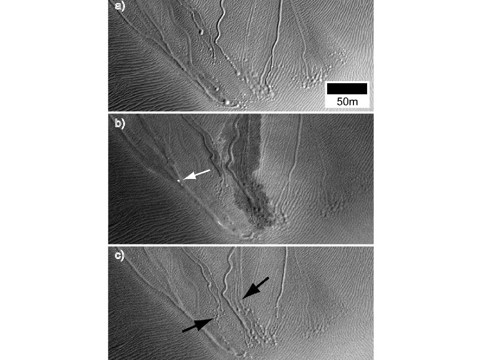 ตัวอย่างเหล่านี้ประเภทที่โดดเด่นแห่งหนึ่งของลำห้วยอังคารที่เรียกว่า ลำห้วยเชิงเส้น อยู่บนเนินทรายใน Matara ปล่องที่เห็นในเวลาที่แตกต่างกันของปีที่จะสังเกตเห็นการเปลี่ยนแปลง