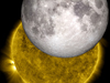 In this SDO solar eclipse image the moon's shadow has been replaced by an actual moon image taken by LRO.