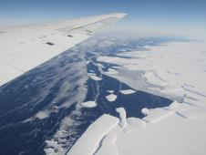 Calving front of an ice shelf in West Antarctica.