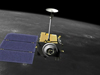 artists concept of lro over moon