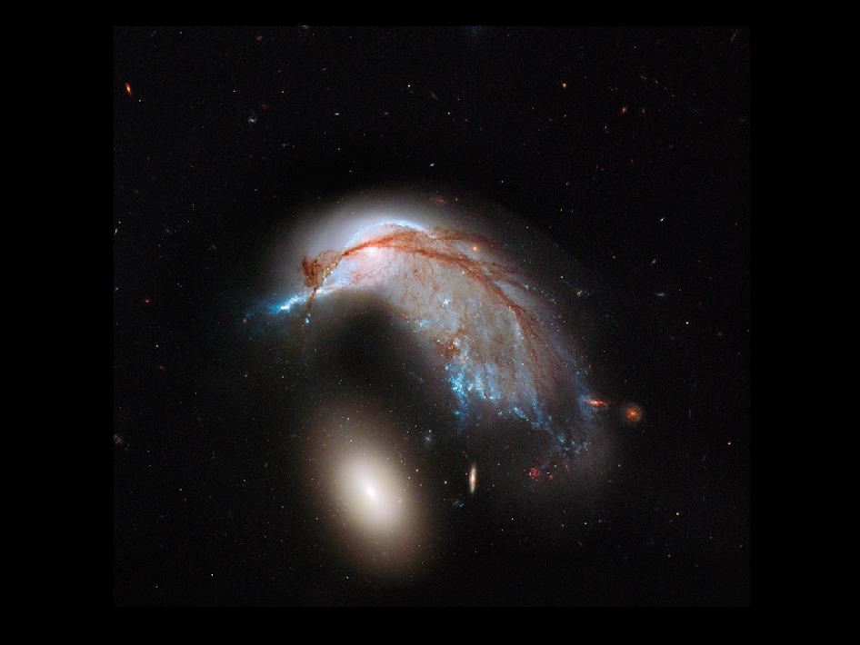 This striking NASA Hubble Space Telescope image, which shows what looks like the profile of a celestial bird, belies the fact that close encounters between galaxies are a messy business.