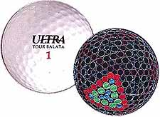 Picture of a golf ball and a drawing of the golf ball with its outer shell removed showing the different sized dimples