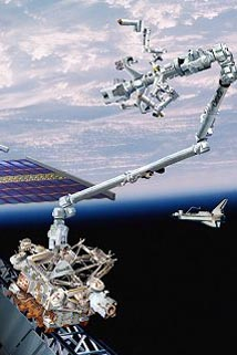 An image of the robotic arm that has been installed on the International Space Station.