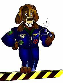 A cartoon dog wearing a flight suit and holding sunglasses