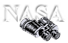 Black and white graphic of binoculars and the word NASA