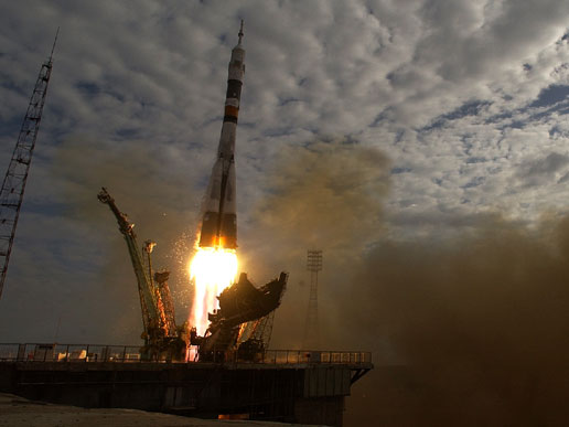 Soyuz rocket launched at 9:53 a.m. from Baikonur, Kazakhstan