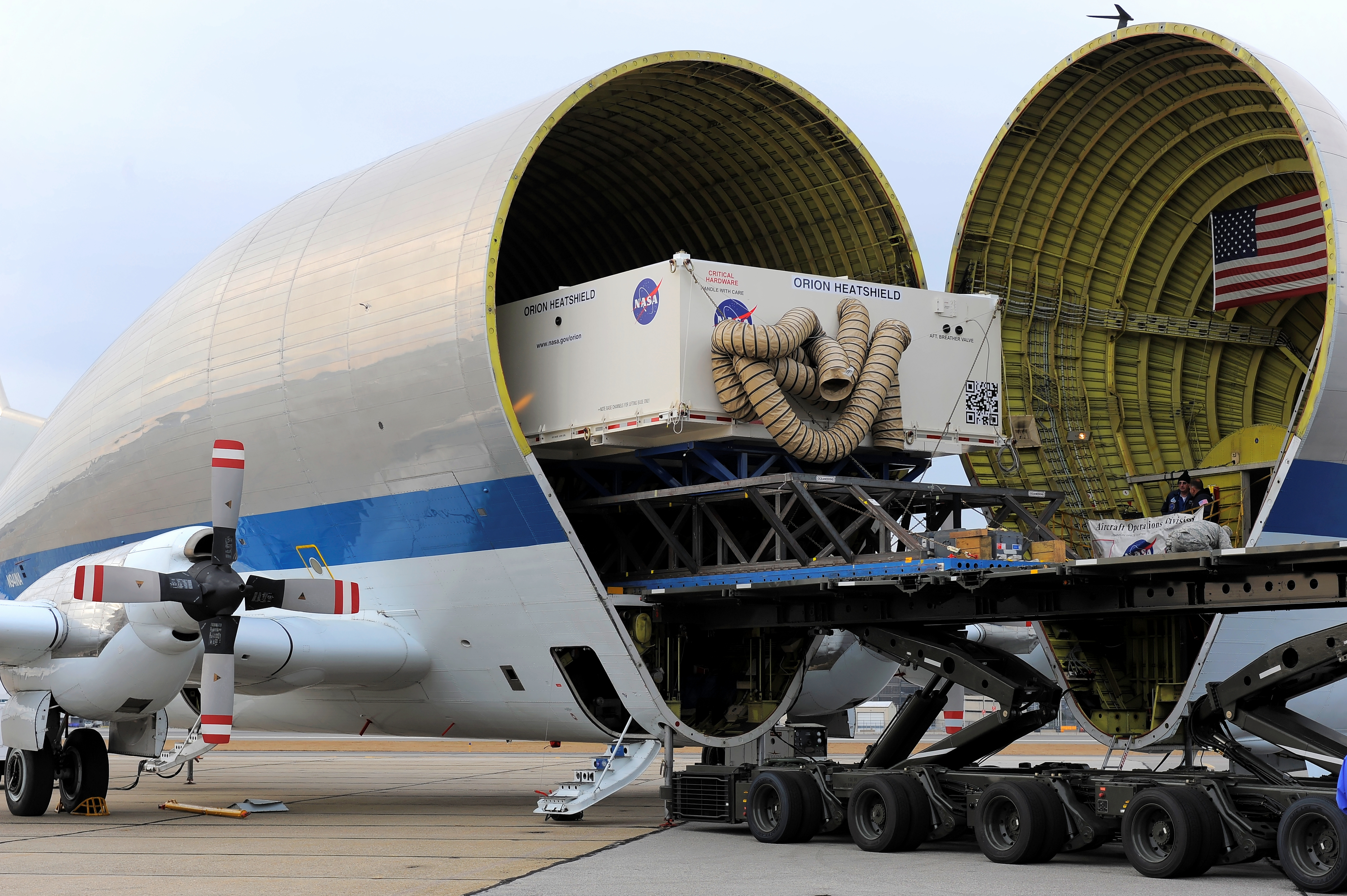 Orion Heat Shield Transported Aboard Super Guppy Plane | NASA