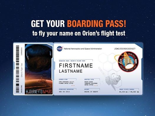 Send your name on nasas journey to mars starting with orions fi