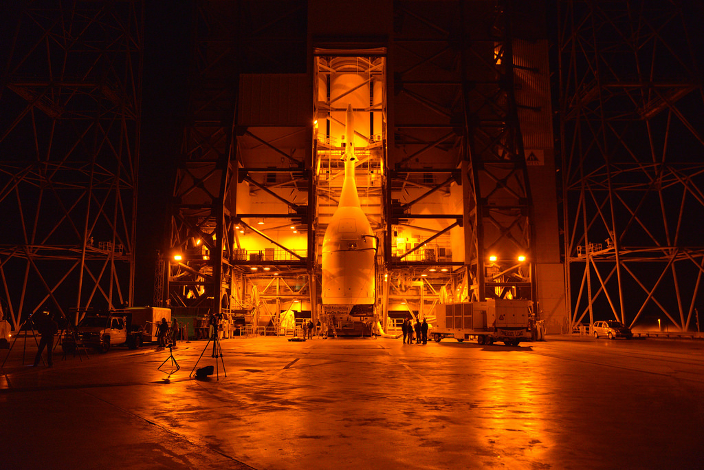 NASA's Orion Spacecraft Arrives at Launch Pad, Hoisted ...