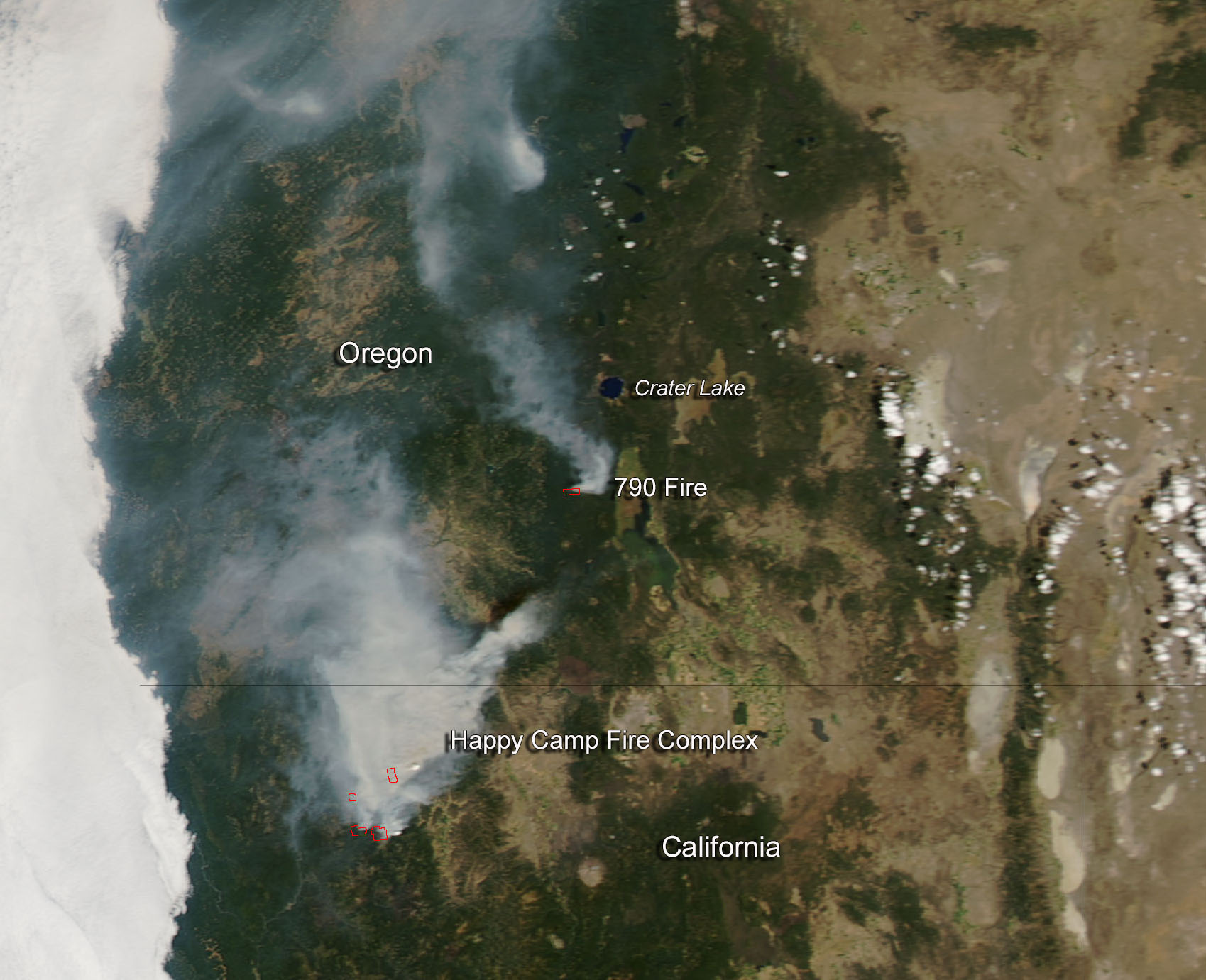 Happy Camp Fire in California and 790 Fire in Oregon | NASA