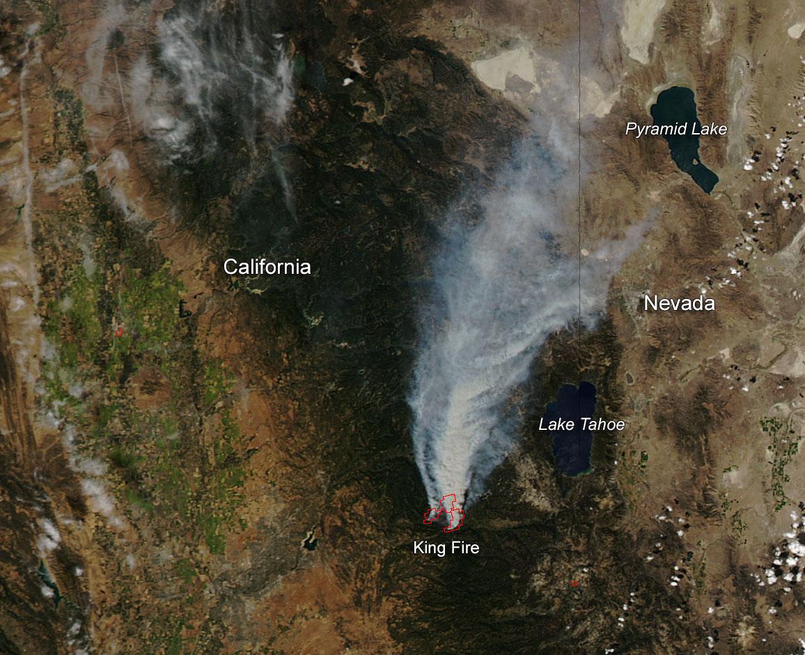 California Fires Satellite >> California's King Fire East of Sacramento | NASA